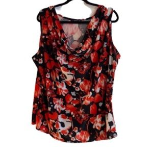 (2X) Candy Couture Top w/ draping neckline EUC!!